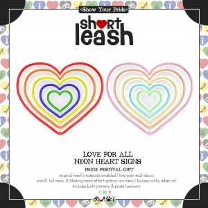 Short Leash Love For All Neon Heart Signs ad